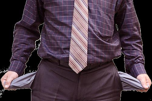 Безработный отец с пустыми карманами