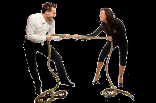 Перетягивание каната супругами
